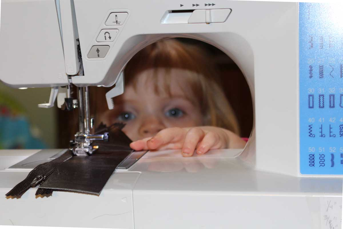 Sewing Interrupted - Seeing toddler through the sewing machine